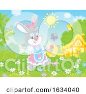 Poster, Art Print Of Female Bunny Rabbit With A Basket Of Easter Eggs