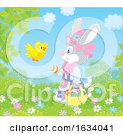 Female Bunny Rabbit With A Basket Of Easter Eggs And A Bird