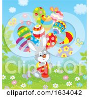 Poster, Art Print Of Bunny Rabbit With Easter Egg Balloons