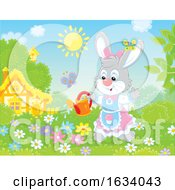 Poster, Art Print Of Female Bunny Rabbit Watering A Flower Garden