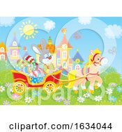 Poster, Art Print Of Bunny Rabbit In A Horse Cart Of Easter Eggs