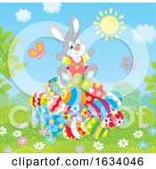 Bunny Rabbit On A Pile Of Easter Eggs