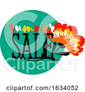 Poster, Art Print Of Summer Sale Badge With Vivid Red Flower And Elegant Text On A Green