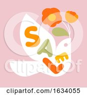 Sale Banner Template Design With Multicolored Letters And Flying Bird With Flowers