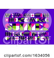 Poster, Art Print Of Colorful Poster With Wildflowers And Summer Lettering In Flat Style