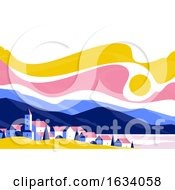 Poster, Art Print Of Calm Village Landscape With Small Old Buildings And Houses On A Background Of Mountains And Hills At Sunset