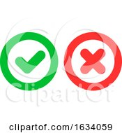 Poster, Art Print Of Green Checkmark Ok And Red Cross X Icons As Positive And Negative Symbols Isolated On White Background