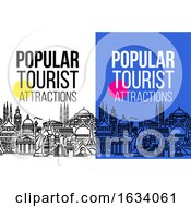 Poster, Art Print Of Vertical Banner With Seamless Cityscape Of Worlds Most Popular Tourist Attractions Modern Flat Line Vector Illustration For Traveling Vacation Tourism And Journey Concept