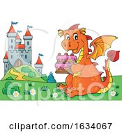 Poster, Art Print Of Dragon Holding A Birthday Cake By A Castle