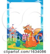 Dragon Holding A Birthday Cake Border