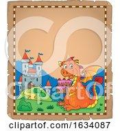 Poster, Art Print Of Dragon Holding A Birthday Cake Border