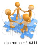 Four Orange People Holding Hands While Standing On Connected Blue Puzzle Pieces Symbolizing Teamwork And Interlinking For Seo Website Marketing Clipart Illustration Graphic