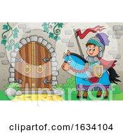 Poster, Art Print Of Horseback Knight By A Caslte Door