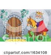 Poster, Art Print Of Horseback King By A Castle Door