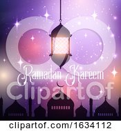 Poster, Art Print Of Ramadan Kareem Background With Hanging Lantern And Mosque Silhouette