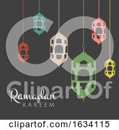 Poster, Art Print Of Ramadan Kareem Background With Hanging Lanterns