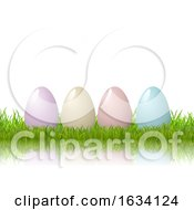 Easter Eggs In Grass On A White Background