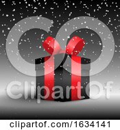 Poster, Art Print Of Luxurious Gift On A Background With Silver Confetti