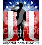 Poster, Art Print Of Soldier Saluting American Flag Background