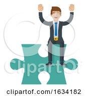 Poster, Art Print Of Jigsaw Puzzle Piece Business Man Cartoon Mascot