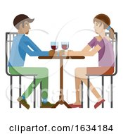 Young Couple Dinner Wine Restaurant Cartoon