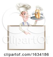 Hotdog Cartoon Chef Pointing