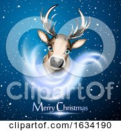 03/18/2019 - Cute Reindeer Over Snow And Bue Background With Merry Christmas Greeting