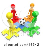 Group Of Diverse Diffferent Colored People Standing On Puzzle Pieces And Looking Down At A Soccer Ball