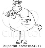 Cartoon Black And White Cow Photographer Taking Pictures
