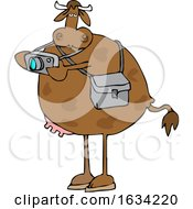 Cartoon Cow Photographer Taking Pictures