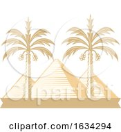 Poster, Art Print Of Egyptian Pyramids And Palm Trees