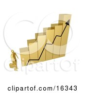 Gold Businessman Carrying A Briefcase And Staring Up At A Big Golden Bar Graph Chart Symbolizing Intimidation Or Desiring To Be Successful