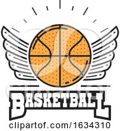 Poster, Art Print Of Winged Basketball Sports Design