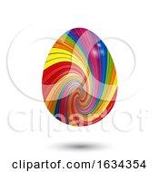 3D Striped Swirl Easter Egg On White Background