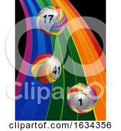 3D Striped Bingo Lottery Balls On Rainbow