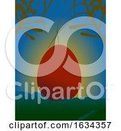 Poster, Art Print Of Red Easter Egg On Serene Sunset Over Mountains