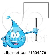 03/20/2019 - Water Drop Mascot Character Holding Up A Blank Sign