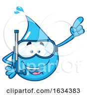 03/20/2019 - Water Drop Mascot Character Wearing Snorkel Gear