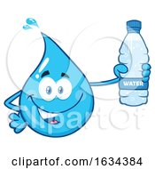 03/20/2019 - Water Drop Mascot Character Holding A Plastic Bottle