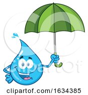 03/20/2019 - Water Drop Mascot Character Holding An Umbrella