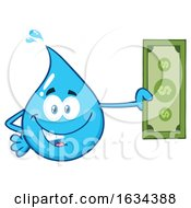 03/20/2019 - Water Drop Mascot Character Holding Cash Money