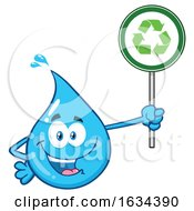 03/20/2019 - Water Drop Mascot Character Holding A Recycle Sign