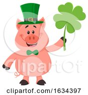 St Patricks Day Pig Holding A Shamrock by Hit Toon
