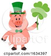 St Patricks Day Pig Holding A Shamrock