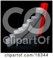Black Arrow Going Up A Silver And Red Bar Graph Chart Over A Black Background Depicting An Increase In Sales Clipart Illustration Graphic