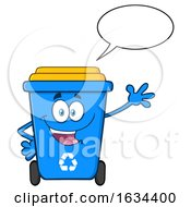 Blue Recycle Bin Mascot Character Talking And Waving by Hit Toon