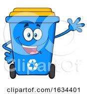 Poster, Art Print Of Blue Recycle Bin Mascot Character Waving