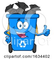 Poster, Art Print Of Blue Recycle Bin Mascot Character Giving A Thumb Up
