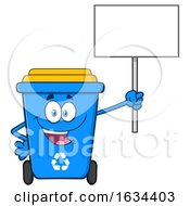 Blue Recycle Bin Mascot Character Holding Up A Blank Sign by Hit Toon