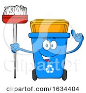 Poster, Art Print Of Blue Recycle Bin Mascot Character Holding A Broom
